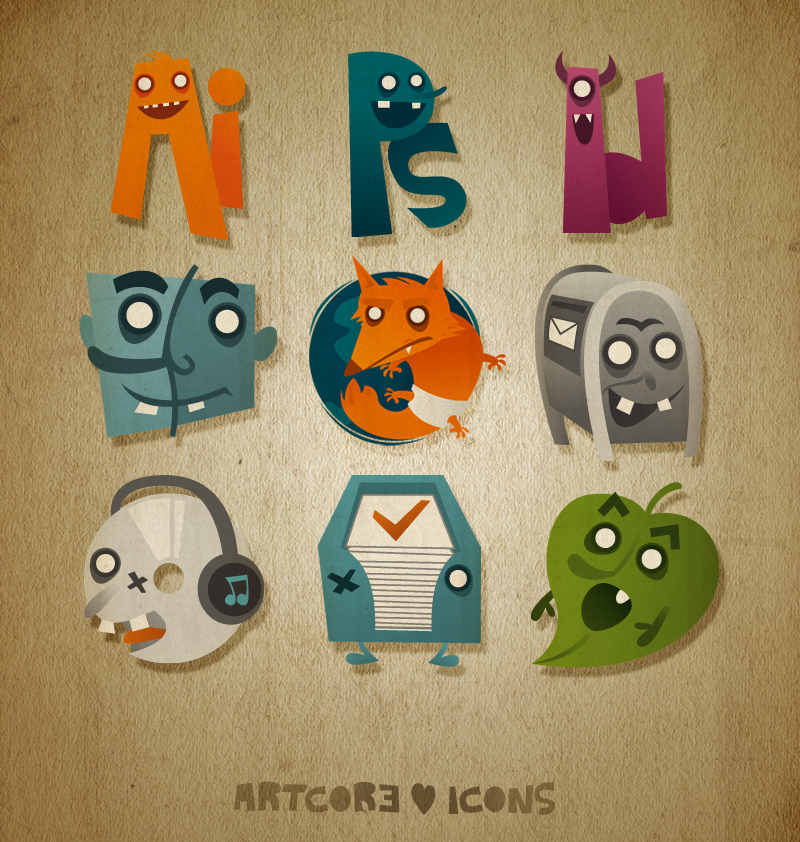 "Font Name ""Artcore ♥ Icons"""