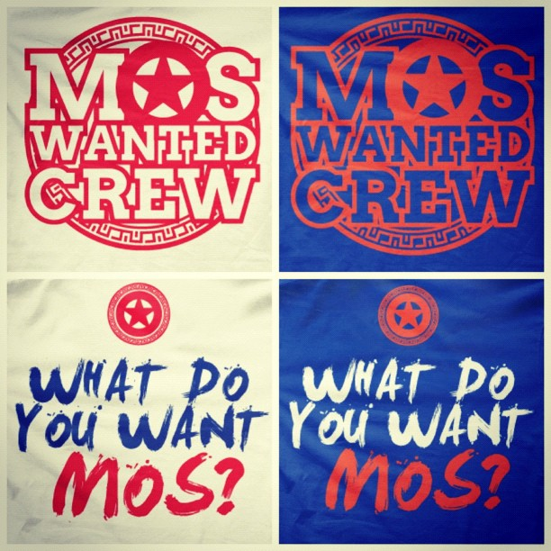 Mos Wanted Crew Shirt Font