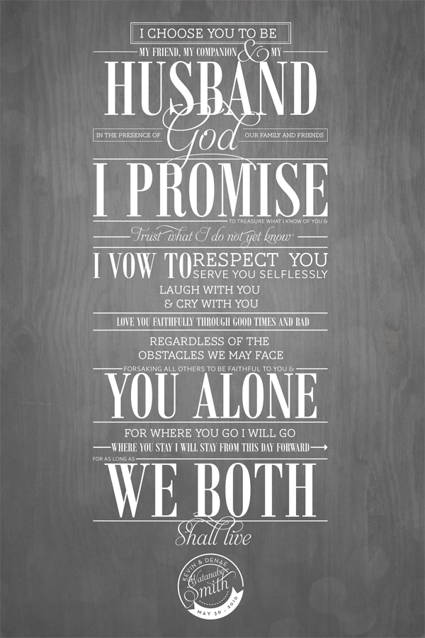 Who knows what each of these fonts are in this vows project?