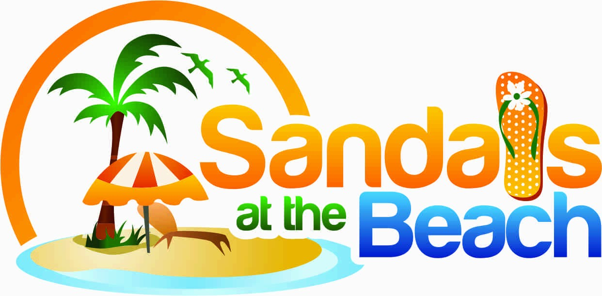 Looking for sandals on the beach font