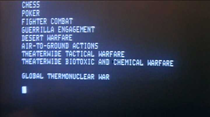 The screen text from War Games
