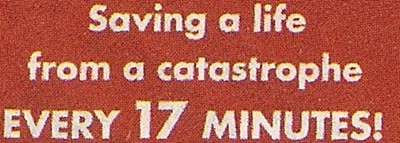 """Saving a life from a catastrophe EVERY 17 MINUTES!"" Font"