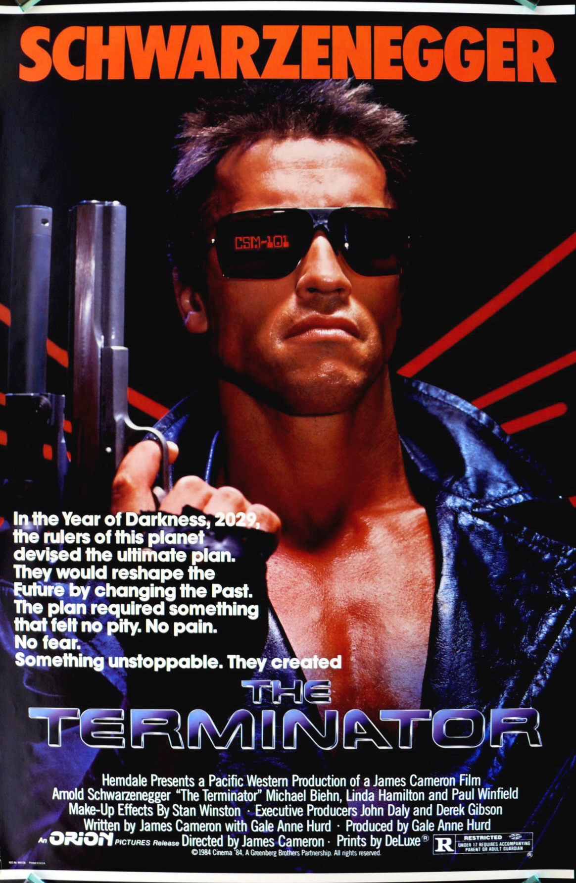 Terminator 1 poster auxiliary font