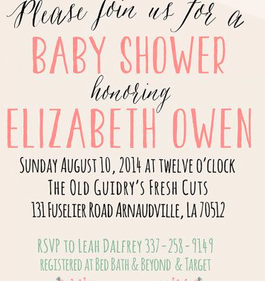 what is the pink baby shower font forum