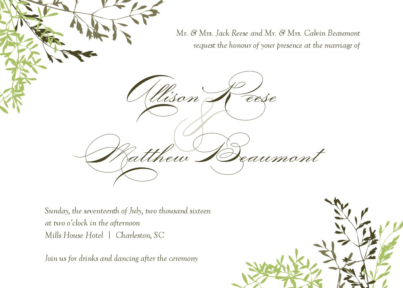 wedding invitation wording middle name - 28 images - wedding ...