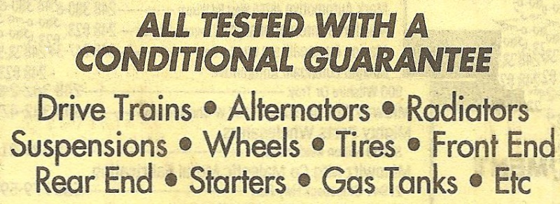 """ALL TESTED WITH A CONDITIONAL GUARANTEE..."" Font"