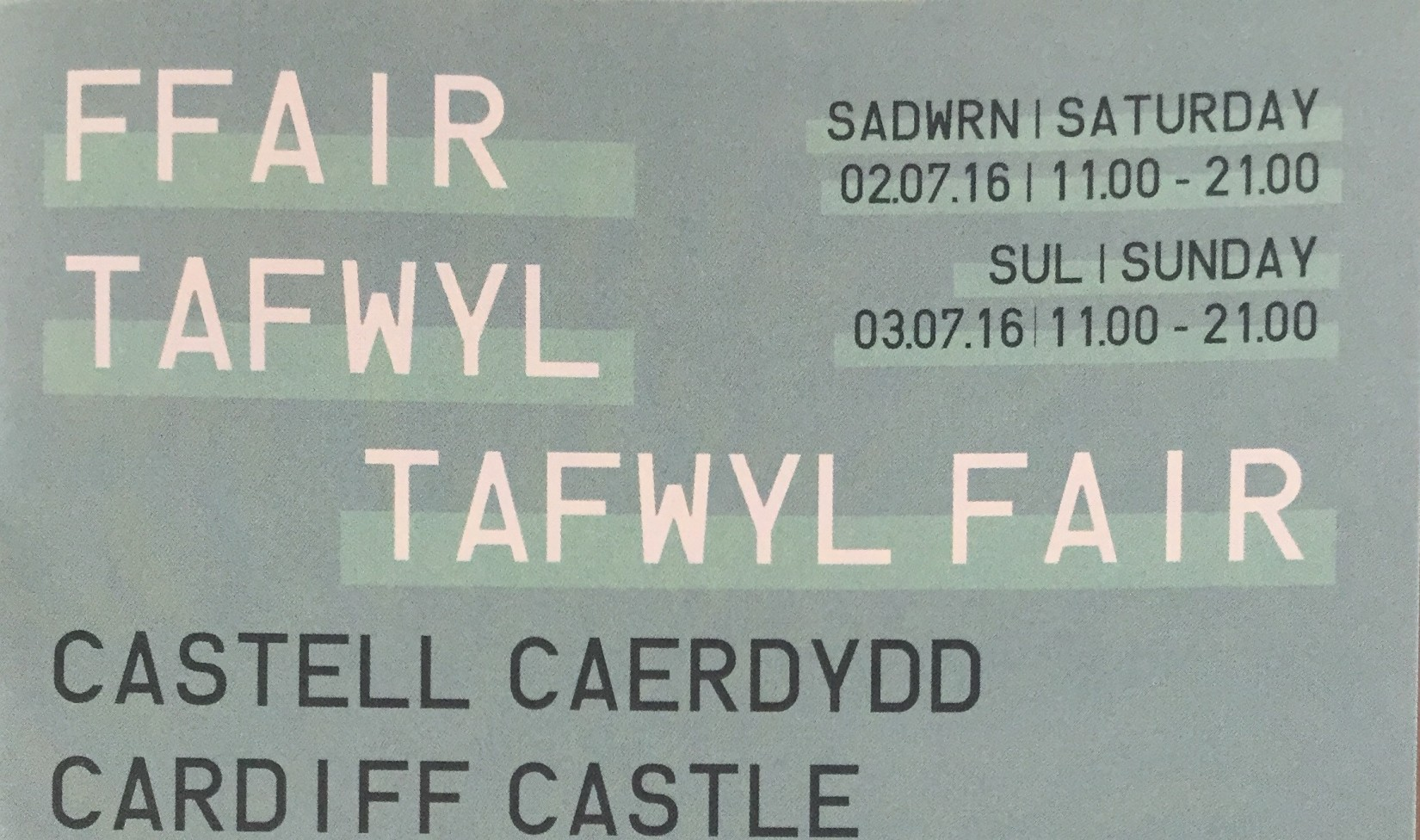 Font from a brochure for the Tafwyl festival in my hometown.