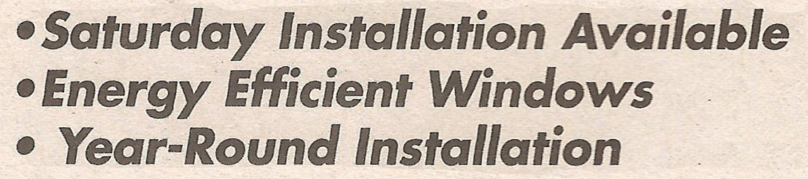 """Saturday Installation Available..."" Font"