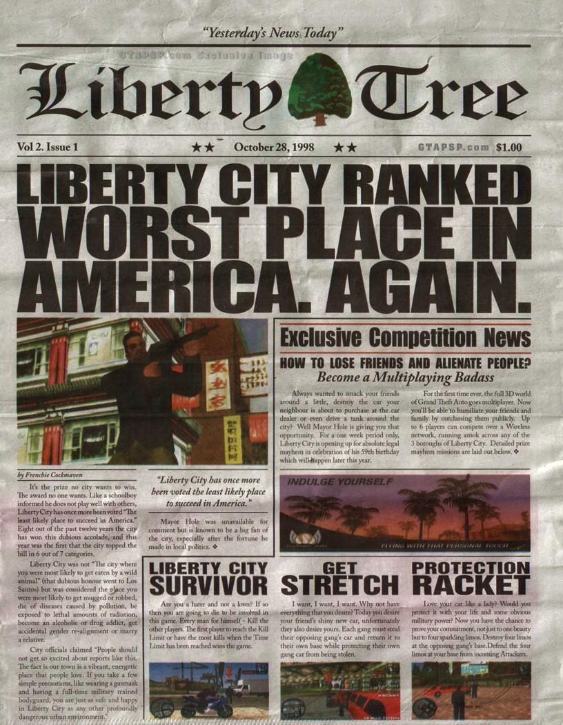Gta Iv In Game Newspaper Liberty Tree Logo Forum Dafont Com