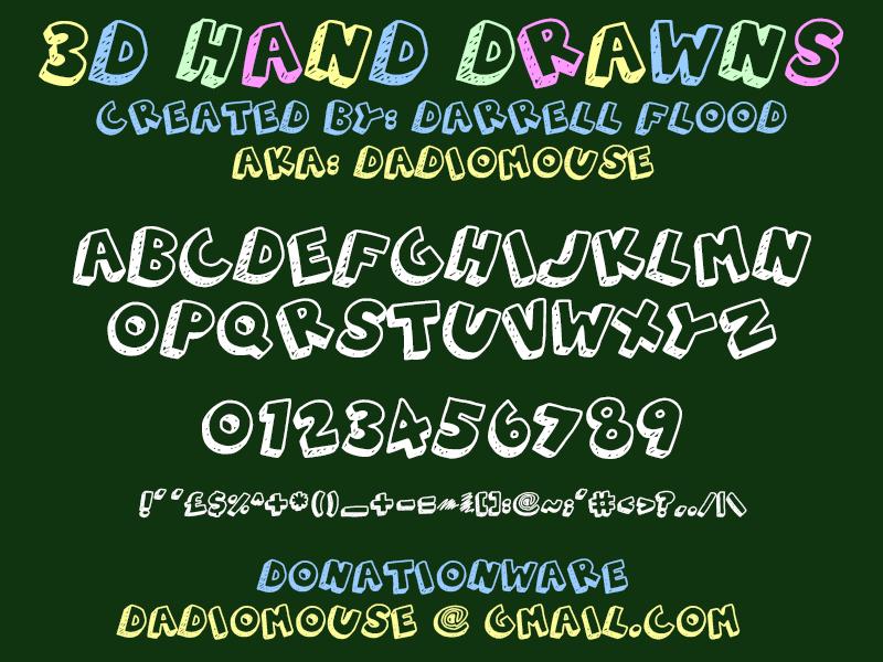 3d Hand Drawns Font Dafont Com