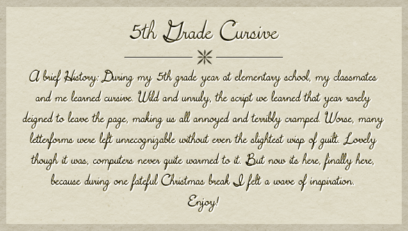 5th Grade Cursive Custom Preview Fonts