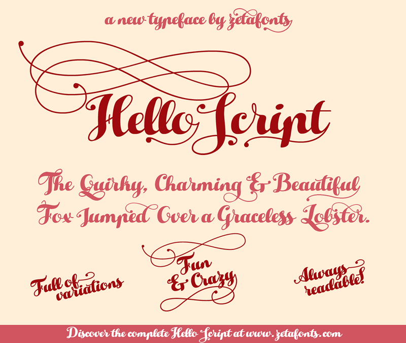 Illustration C Zetafonts Hello Script