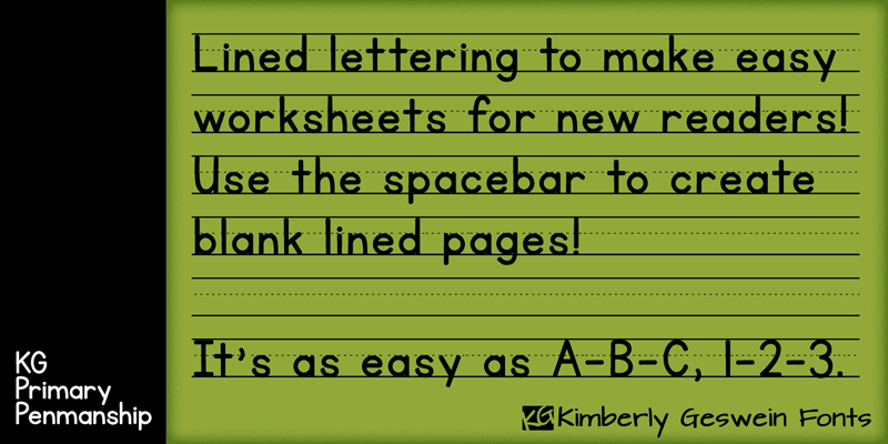 primary lined paper font
