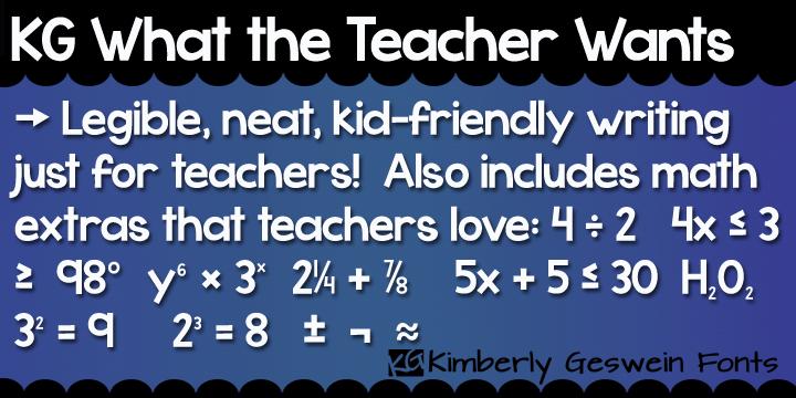 KG What the Teacher Wants Font | dafont com