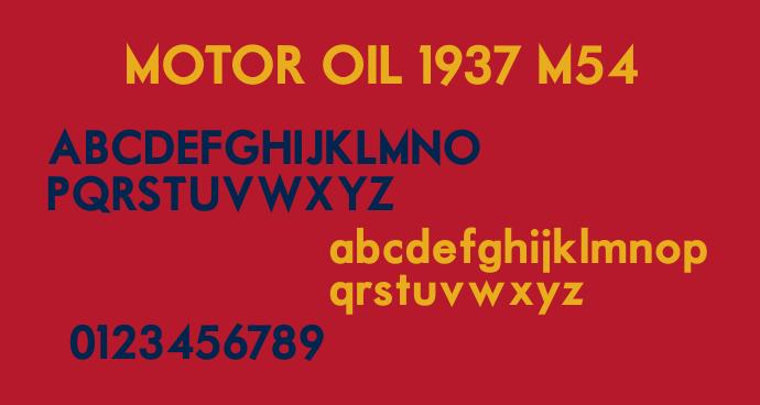 font motor oil 1937 m54